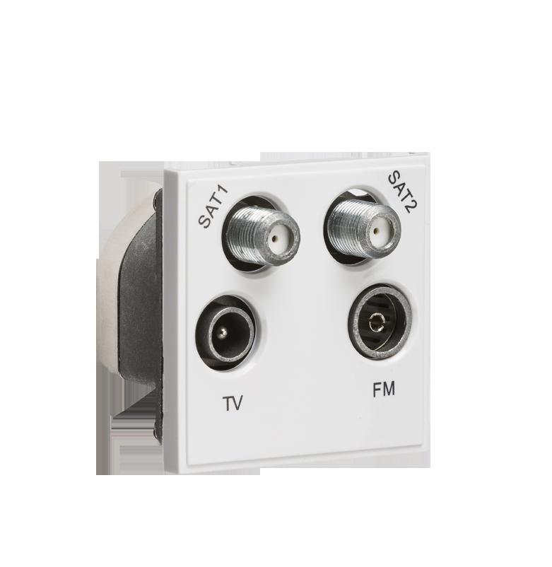 white modular quadplexed sat1 sat2 tv fm dab outlet direct rh directelectrical online